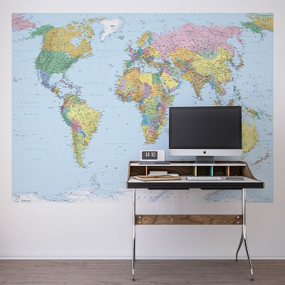 Mural The World Map Komar en Donurmy
